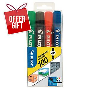 Pilot SCA 100 Permanent Marker Bullet Tip Assorted Colours - Wallet of 4