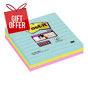Post-It Super Sticky Miami Colour Large Format Notes Lined 101X101mm Pack of 3