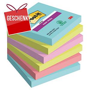 3M Post-it® 654 Super Sticky Blöcke, 76x76mm, bunt, Pack. 6 Blöcke/90 Blatt