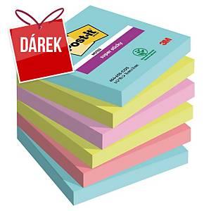 3M Post-it® 654 Super Sticky bločky 76x76 mm, barevné, bal. 6 bločků/90 lístků