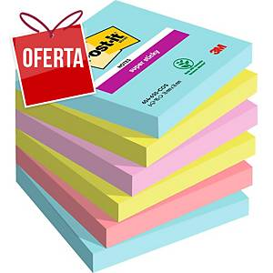 Pack 6 blocos 90 notas adesivas Post-it Super Sticky - cores Miami