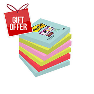 Post-It Super Sticky Miami Notes 76X76mm Pack of 6
