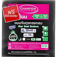 CHAMPION ถุงขยะชนิดก้นสตาร์ซีล 30X40 นิ้ว แพ็ค 15 ใบ