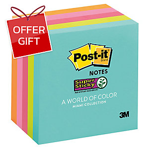 POST-IT 654-5SSMIA SUPER STICKY NOTES 3  X 3  ASSORTED COLOURS - PACK OF 5