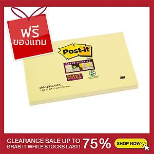 POST-IT ซูเปอร์สติกกี้โน้ต 655-12SSCY 3X5 นิ้ว สีเหลือง บรรจุ 90 แผ่น/เล่ม
