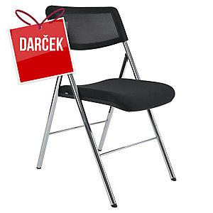 Skladacia stolička Alba CPDIVA N, pletené operadlo, čierna