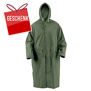 Regenmantel mit Kapuze PVC, Größe L, grün