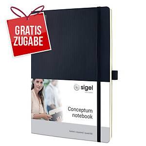 Notizbuch Sigel Conceptum CO310, A4, kariert, Softcover, 194 Seiten, schwarz