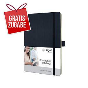 Notizbuch Sigel Conceptum CO320, A5, kariert, Softcover, 194 Seiten, schwarz