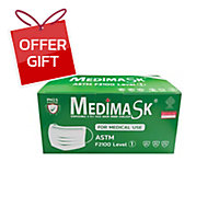 MEDIMASK FACE MASK 3 PLY GREEN PACK OF 50