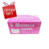 MEDIMASK FACE MASK 3 PLY PINK PACK OF 50