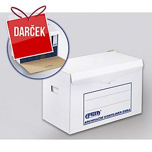 Emba Archívny kontajner K/6x80 na zakladače, farba biela, 10 kusov