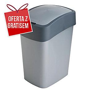 Kosz na śmieci CURVER FLIP BIN, srebrny/grafitowy, pojemność 25 l