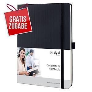 Notizbuch Sigel Conceptum CO117, iPad, kariert, Hardcover, 194 Seiten, schwarz