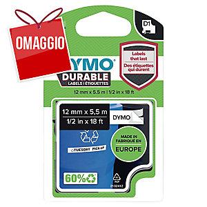 NASTRO D1 permanente in vinile per labelmanager 12MMX5,5M Nero su BIANCO dymo