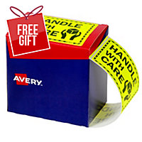 AVERY HANDLE WITH CARE LABELS, 75X99.6MM, FLUORO YELLOW, 750 LABELS