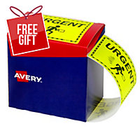 AVERY URGENT SHIPPING LABELS, 75X99.6MM, FLUORO YELLOW, 750 LABELS