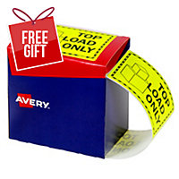 AVERY TOP LOAD ONLY LABELS, 75X99.6MM, FLUORO YELLOW, 750 LABELS