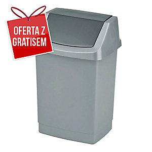 Kosz na śmieci CURVER CLICK-IT uchylny, srebrny, pojemność 50 l