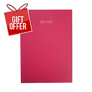 LYRECO DARK PINK A5 ACADEMIC DIARY - WEEK TO VIEW