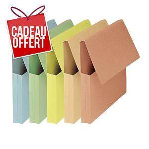 Chemise avec poche Fast Rigidex - carte kraft - coloris assortis - paquet de 50