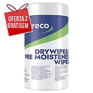 Chusteczki czyszczące Lyreco, 50 sztuk mokrych oraz 50 sztuk suchych