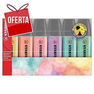 Pack 6 marcadores fluorescentes Stabilo Boss - sortido pastel