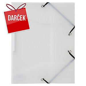 Obal na dokumenty s 3 chlopňami + gumička PP Lyreco A4 priehľadný biely