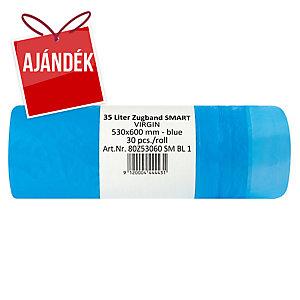 Beköthető szemeteszsákok, kék 35 l, 30 darab/csomag