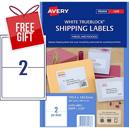 avery trueblock shipping labels laser printers 199 6x143 5mm 200