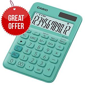 Desk Calculator 12-Digit Big-Display In Green With Function Command Signs