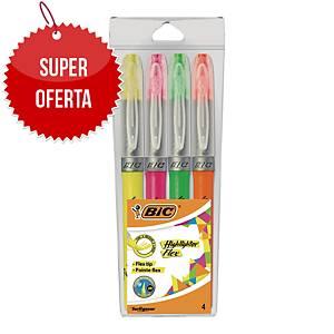 Zakreślacz Bic Highlighter Grip&Flex, etui 4 kolorów