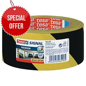 tesa® 58130 signal premium tape yellow/black, 50 mm x 66 m