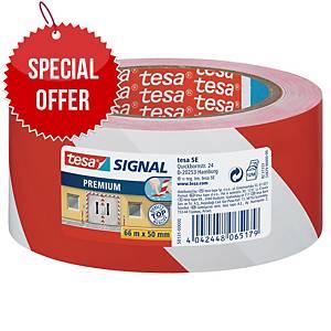 tesa®  58131 signal premium tape red/white, 50 mm x 66 m