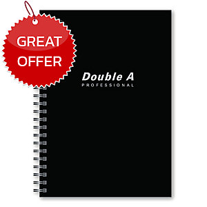 DOUBLE A WIREBOUND NOTEBOOK 70G 40 SHEETS A5 BLACK