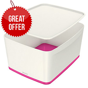 Leitz Mybox® Large 18 Litre With Lid, Storage Box, Pink