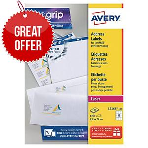 AVERY L7164-100 QUICKPEEL WHITE LASER ADDRESSING LABELS 63.5 X 72MM - BOX OF 100