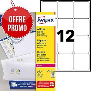 Etiquette adresse Avery - L7164-100 - 63,5 x 72 mm - blanche - par 1200