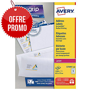 Boite 1200 étiquettes adresses laser Avery 63,5x72mm blanches l7164