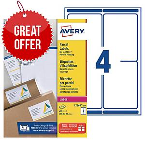 Avery L7169 laser labels Jam Free 99,1x139 - box of 400