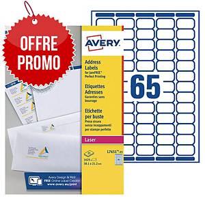 Etiquette mini Avery - L7651-25 - 38,1 x 21,2 mm - blanche - par 1625