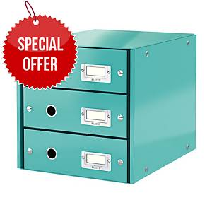 LEITZ CLICK & STORE 3-DRAWER ICE BLUE