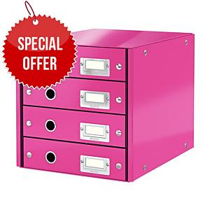 LEITZ CLICK & STORE 4-DRAWER PINK