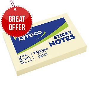 Lyreco Sticky Notes 76x51mm 100-Sheet Yellow - Pack Of 12