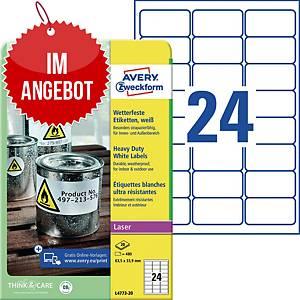 Wetterfeste Etiketten Avery Zweckform L4773-20, 63,5x33,9mm (LxB), weiß, 480 St.