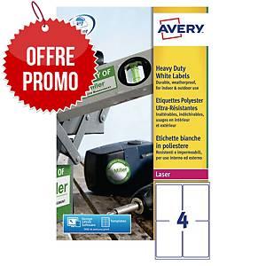 Etiquette ultra-résistante Avery - L4774-20 - 99,1 x 139 mm - blanche - par 80