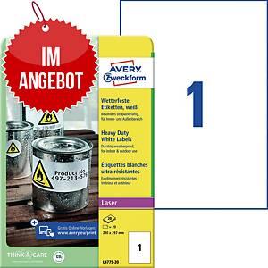 Wetterfeste Etiketten Avery Zweckform L4775-20, 210x297mm (LxB), weiß, 20 St.