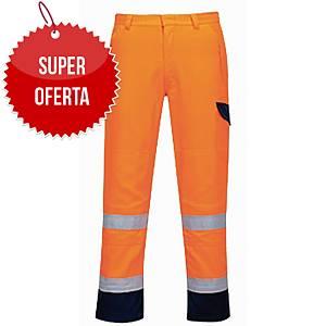 Spodnie ostrzegawcze PORTWEST MV36, pomarańcz-granat, rozmiar S