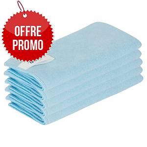 Chiffon microfibre Lyreco Pro - 40 x 40 cm - bleu - lot de 5
