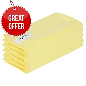 Lyreco Pro Microfibre Cloths 400x400mm Yellow - Pack Of 5
